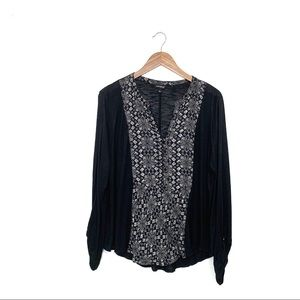 Lucky Brand Black Printed Henley Top Size L
